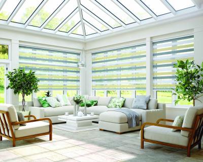 vertical blinds,  bay windows