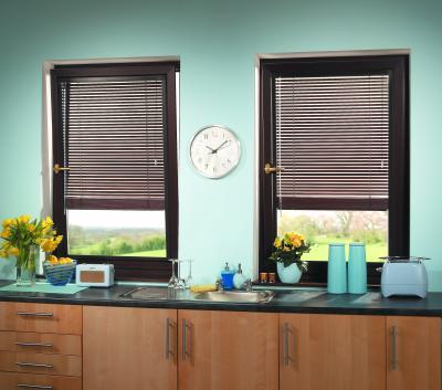 bay windows,  Wooden Blinds